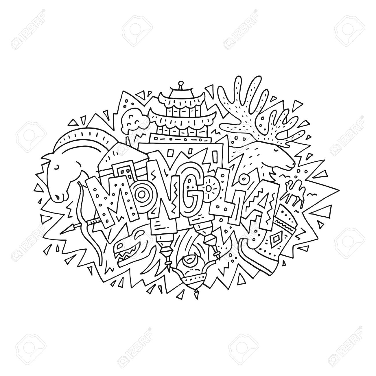 vector illustration of mongolia with symbols of the country royalty Namibia Country vector vector illustration of mongolia with symbols of the country