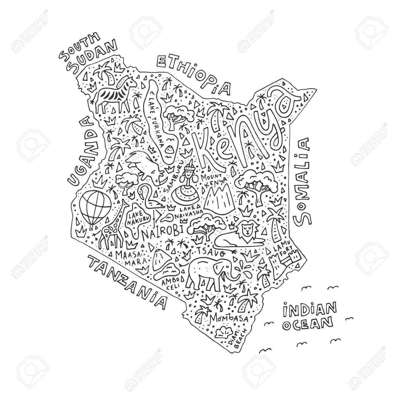 黒のアウトラインと塗り絵のケニア地図のイラストのイラスト素材