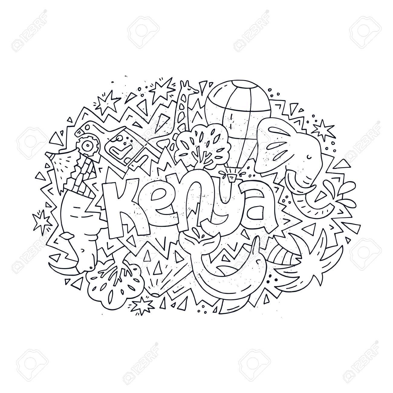 Ilustración De Kenia Para Colorear Para Niños O Adultos. Concepto ...