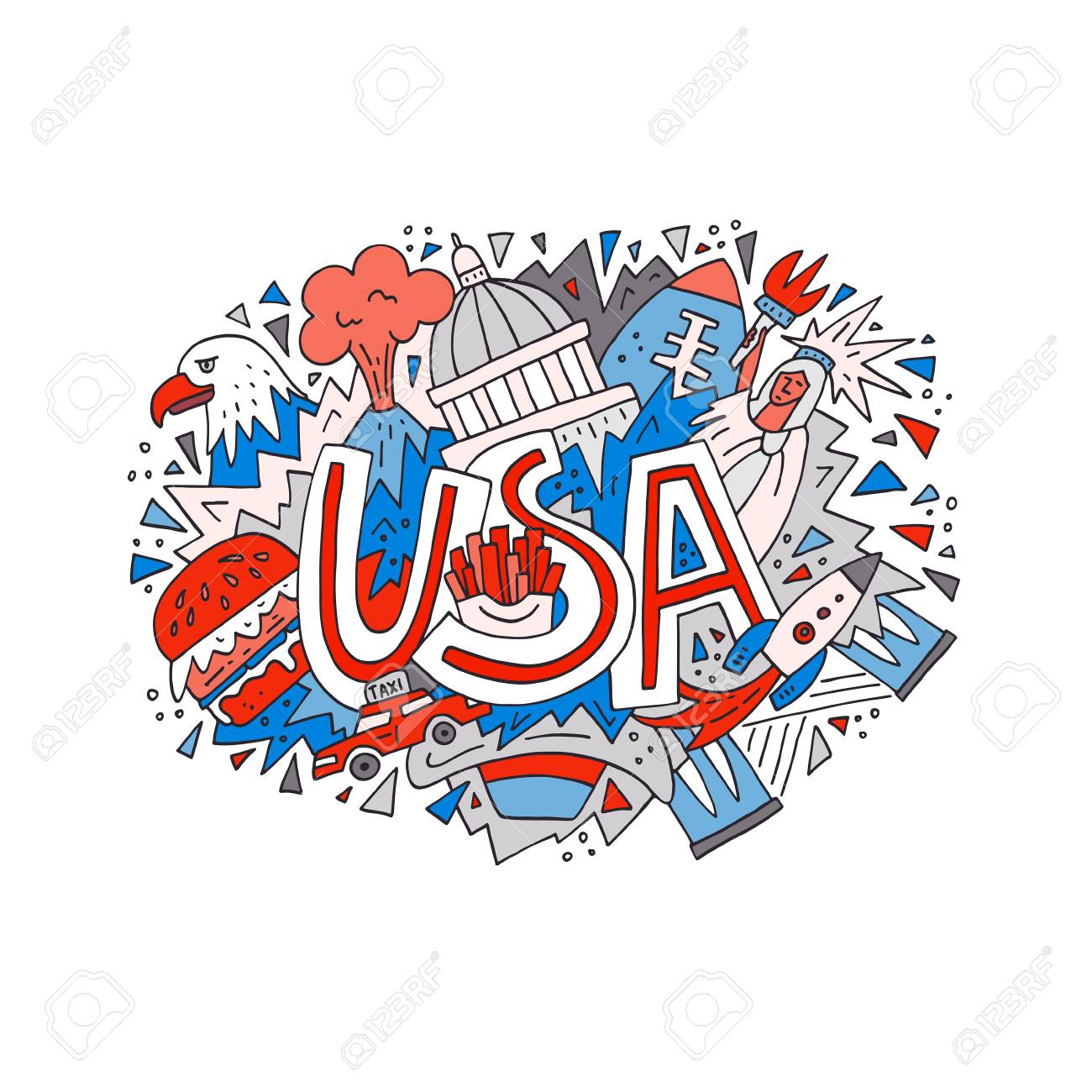 Travel To Usa Concept Vector Illustration With Symbols Of United