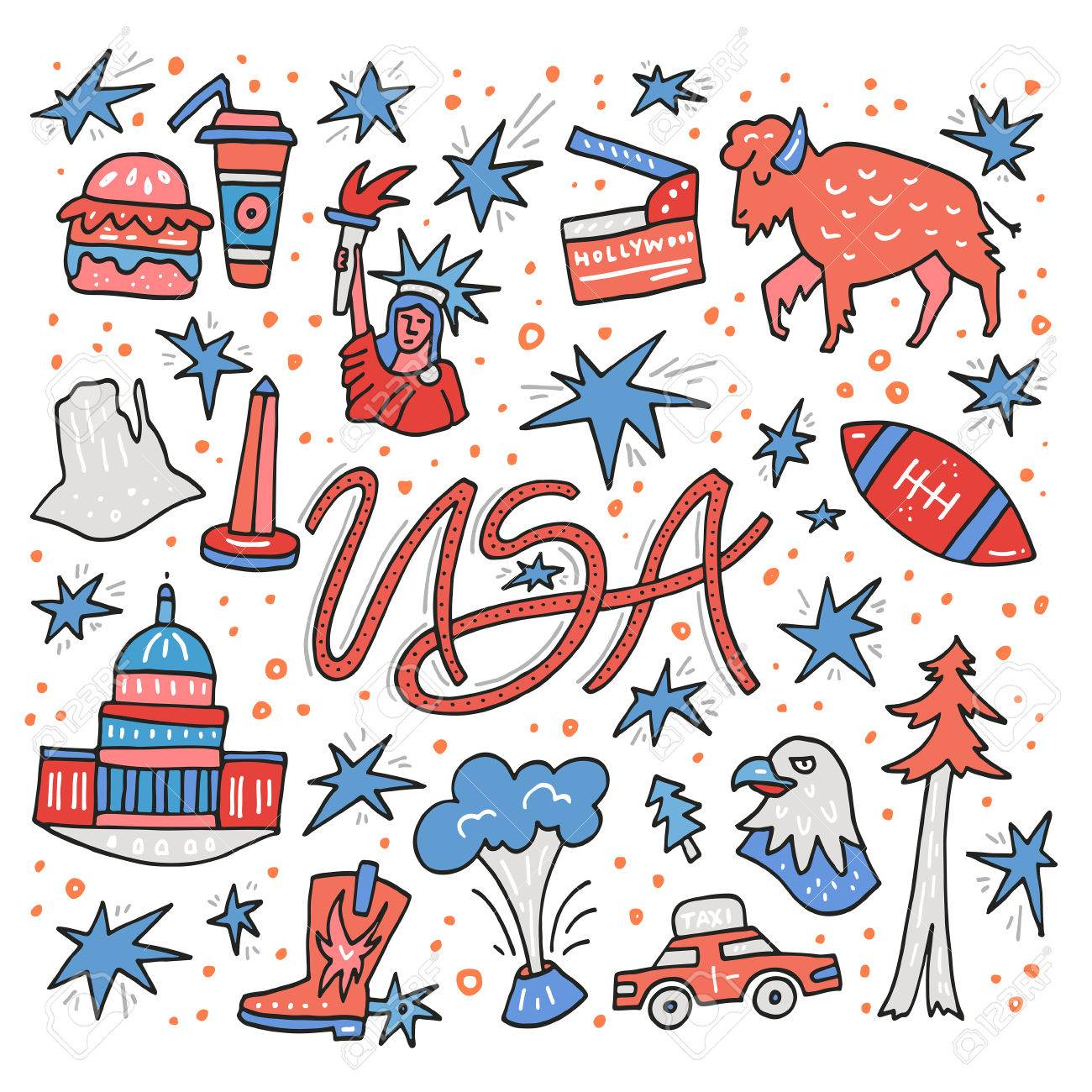 hand drawn symbols of united states usa clipart made in vector rh 123rf com usa clipart gif usa clipart black and white