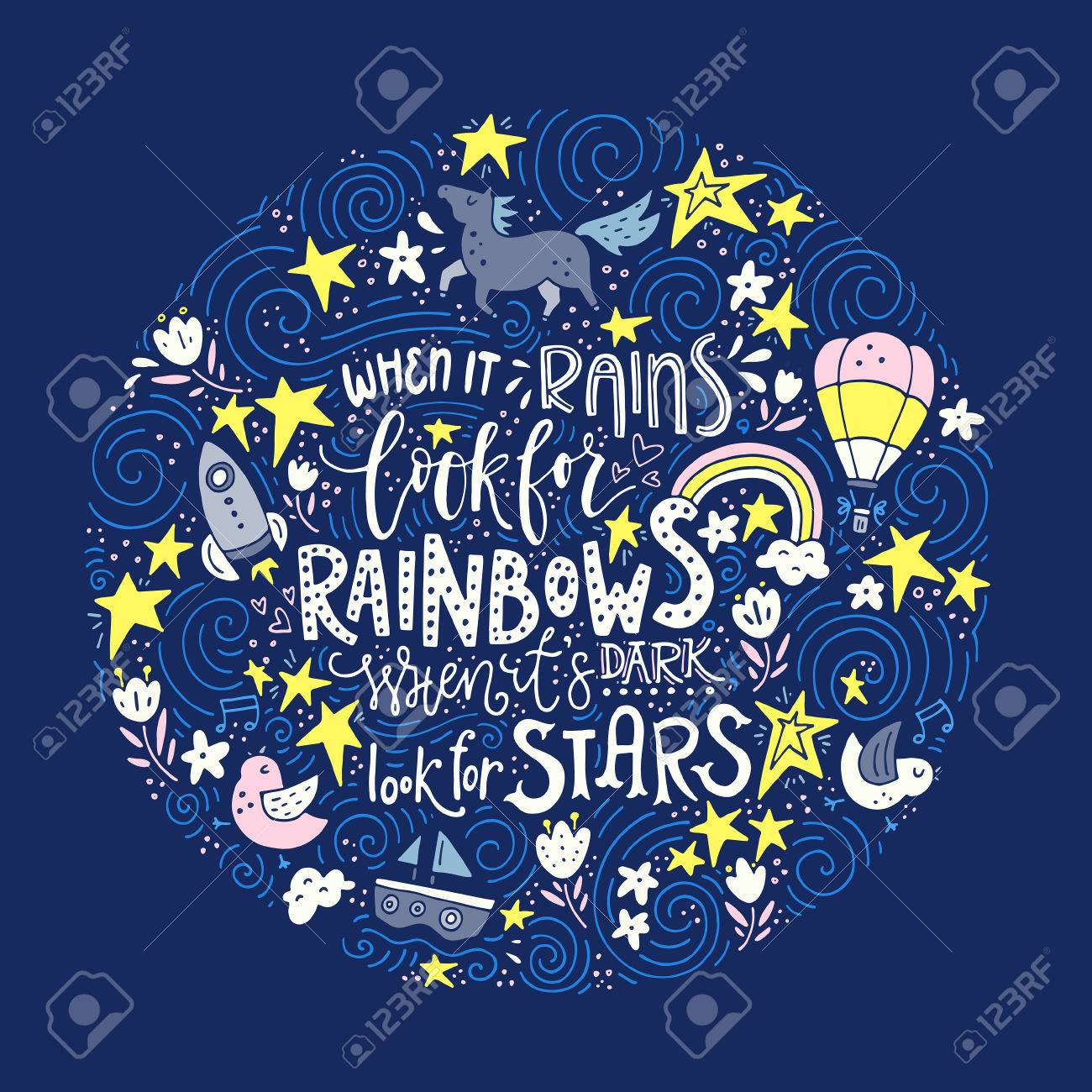 Stock illustration 3d red text quot yes quot stock illustration royalty - Scheme For Text The Hand Drawn Vector Quote When It Rains Look For Rainbows