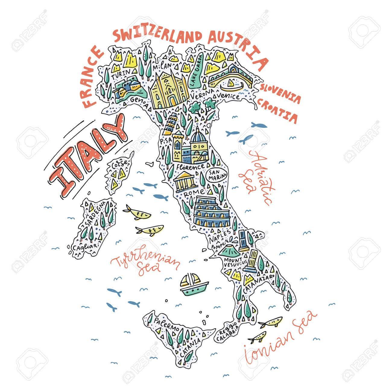 Ilustración Vectorial Del Mapa De Dibujos Animados De La Italia