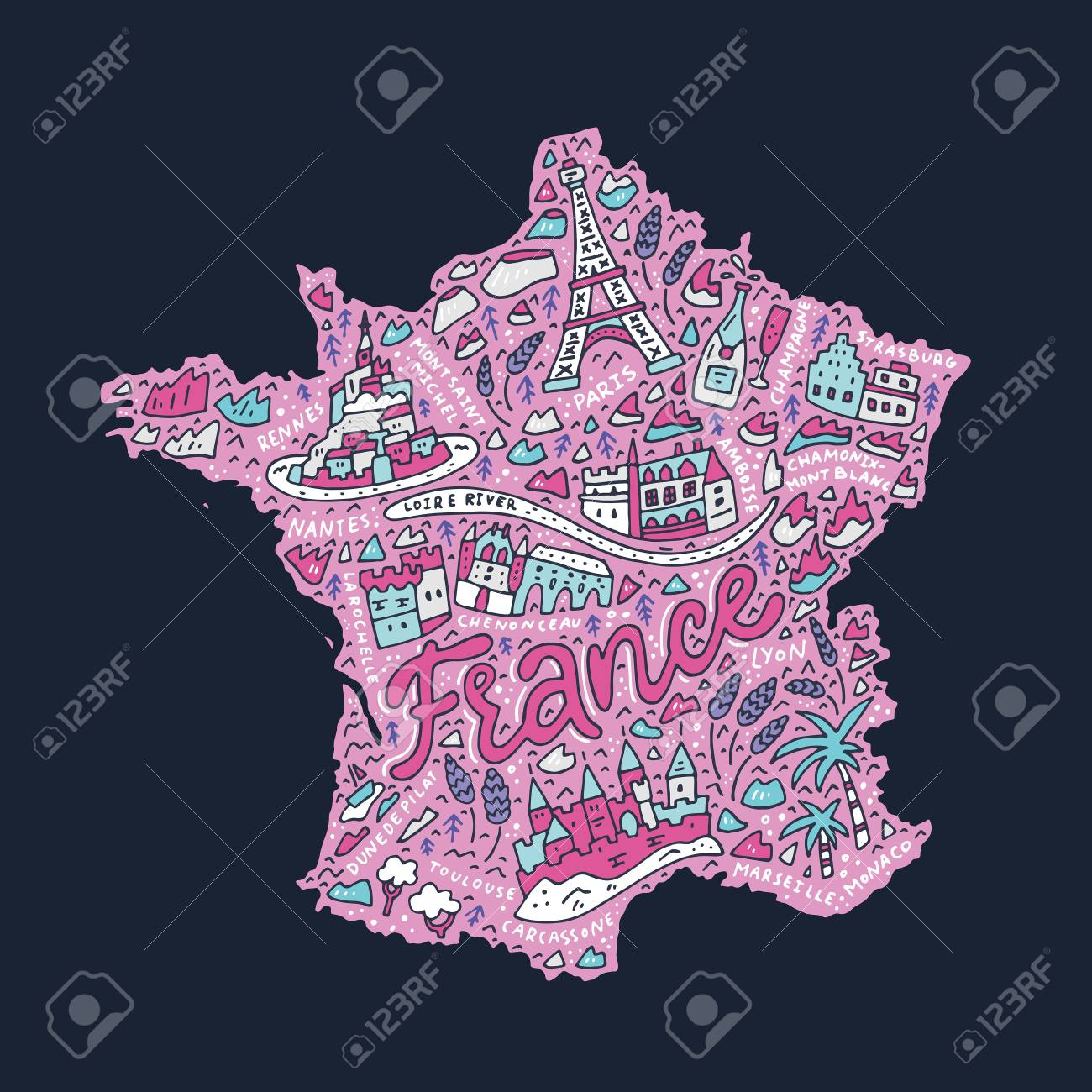 Map Of France Cartoon.Hand Drawn Concept Map Of France Cartoon Illustration Royalty