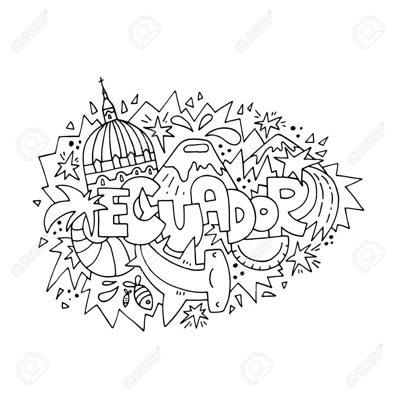 Ecuador Concept For Adult Coloring Book - Hand Drawn Illustration ...