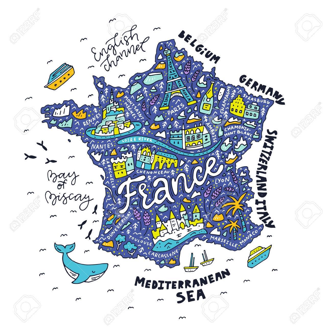 Map Of France Cartoon.Map Of France Cartoon Map Royalty Free Cliparts Vectors And