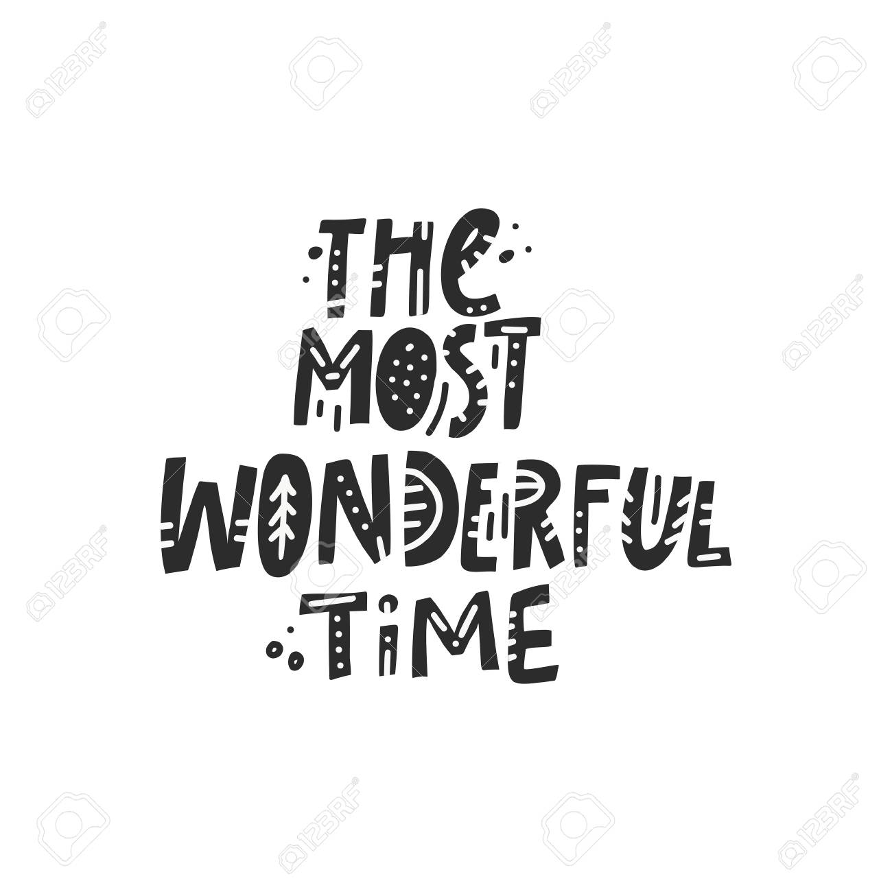 Unique Greeting Card With The Most Wonderful Time Words. Christmas ...