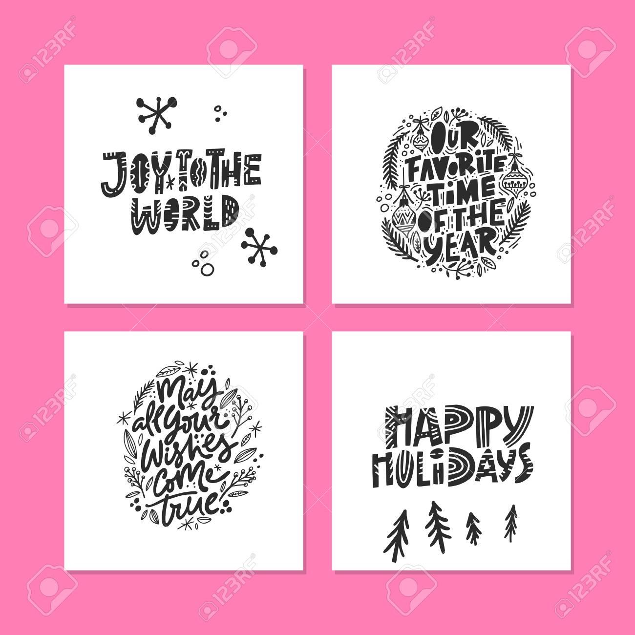 Frases De Caligrafia De Férias De Inverno Letras Manuscritas De Natal Para Cartões Cartazes Camisetas Etc