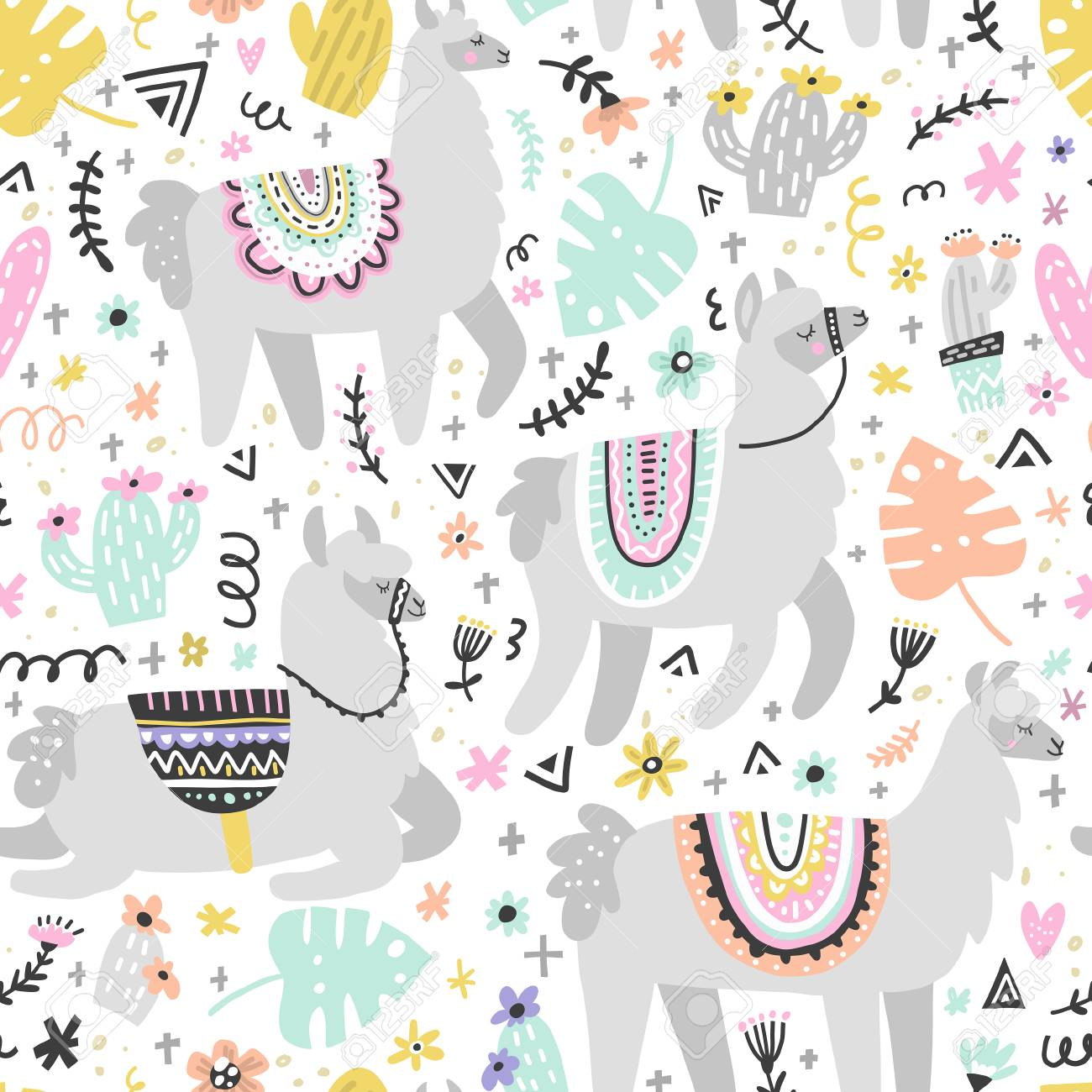 Seamless pattern with lamas made in vector. Modern hand drawn style. Good for wallpaper, greeting cards, children room decoration, etc. - 91662008