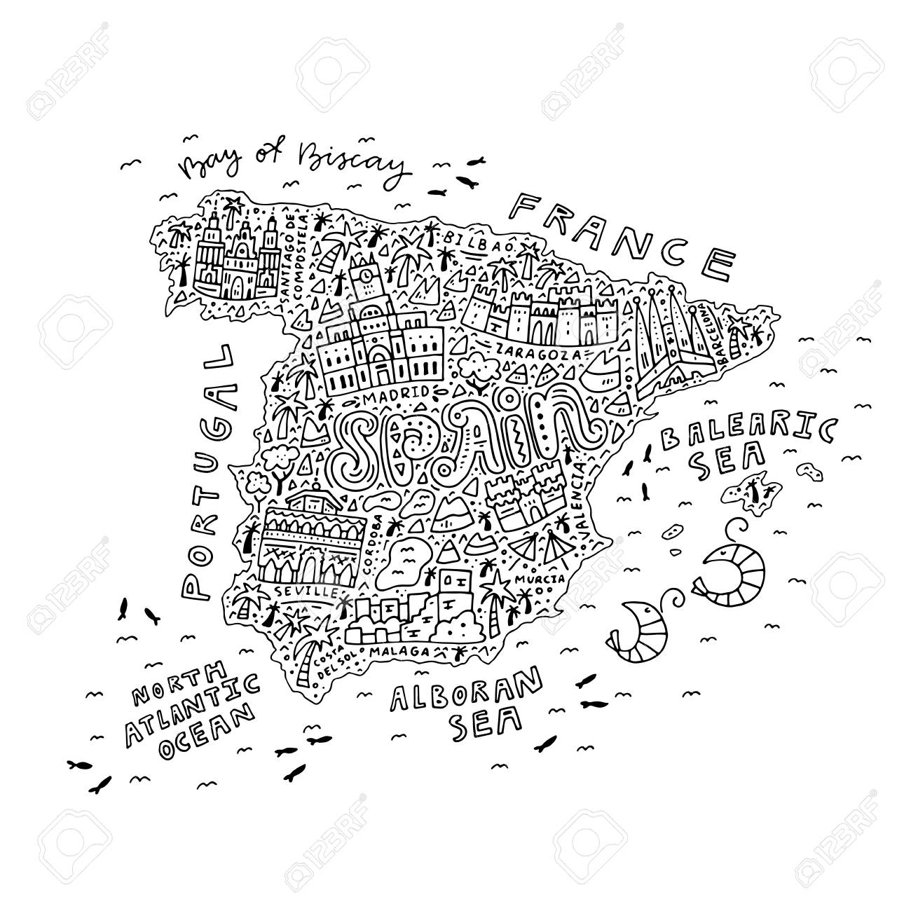 Map Of Spain For Coloring.Handdrawn Map Of Spain For Coloring Antistress Book Outline
