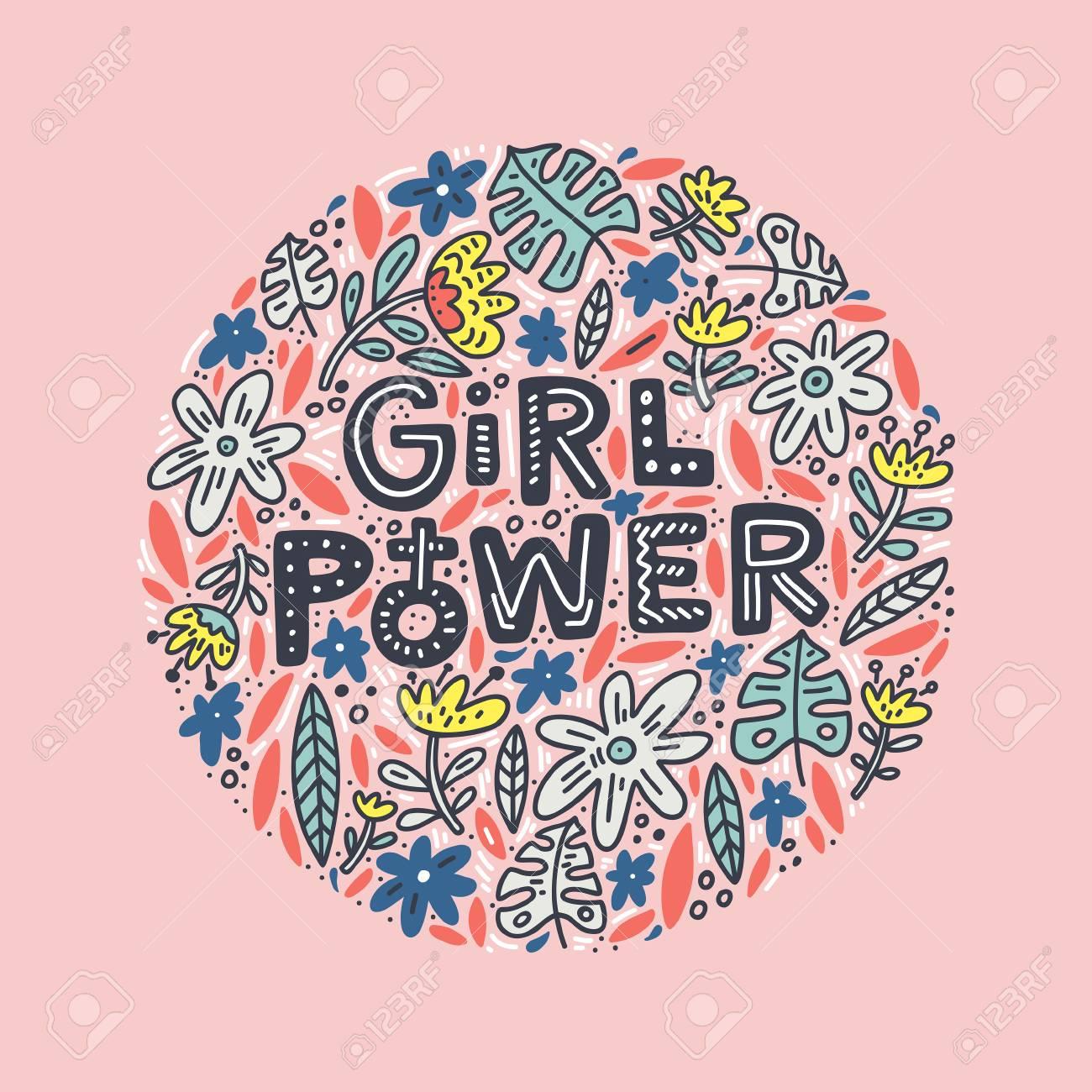 Projeto De Rotulação Da Menina Poder Com Flores Inspiradora Citação Citação De Feminismo Frase Para Cartazes Camisetas E Arte De Parede Desenho