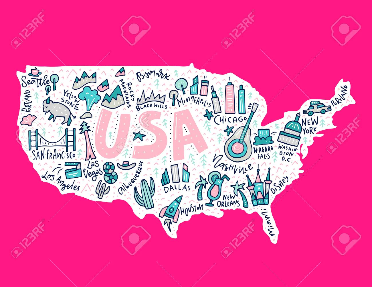Travel to USA cartoon map. United States illustration with all main cities and tourist attractions made in vector. - 99437068