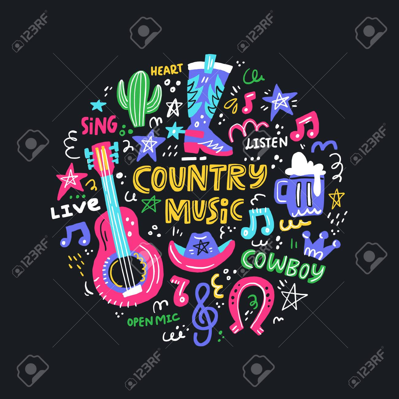Circle concept with symbols of country music and lettering in the center. - 114783665