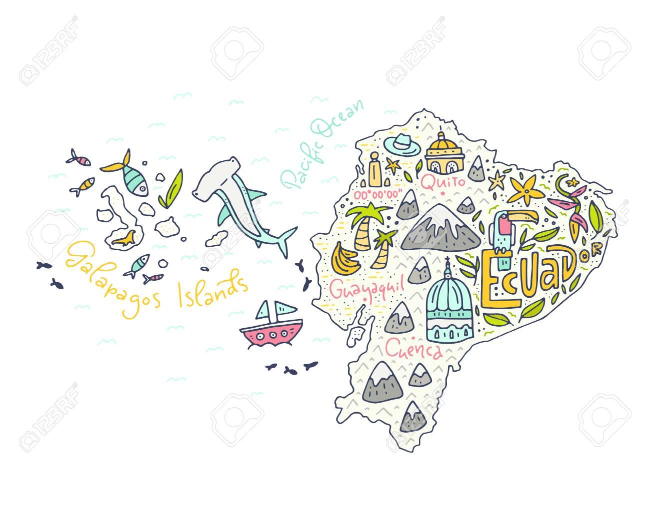 Cartoon Map Of Ecuador And Galapagos Islands Hand Drawn Illustration
