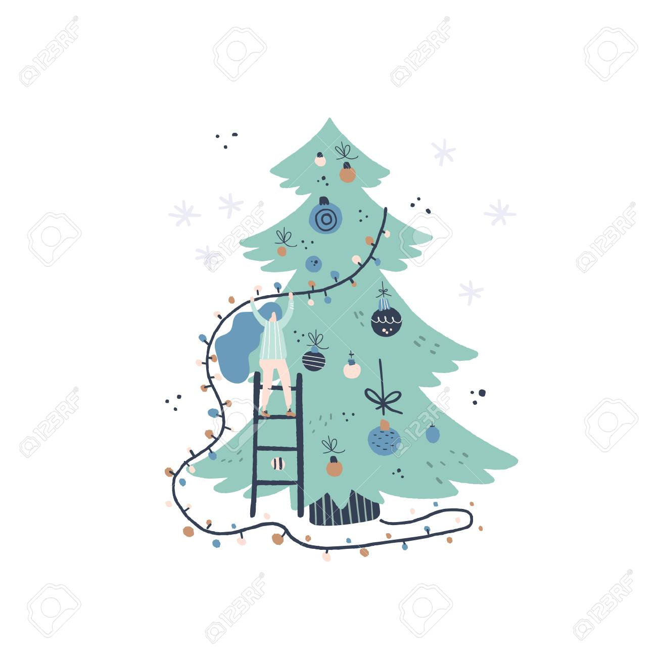 Flat style vector illustration of Christmas concept. Girl and Christmas tree. Xmas or new year card design. - 111516324