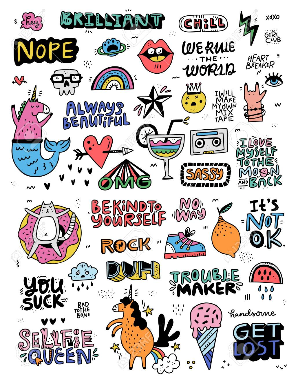 Collection of illustrations in cartoon style with lettering and fun illustrations - perfect for stickers and patches. Doodle set made in vector. - 109440851