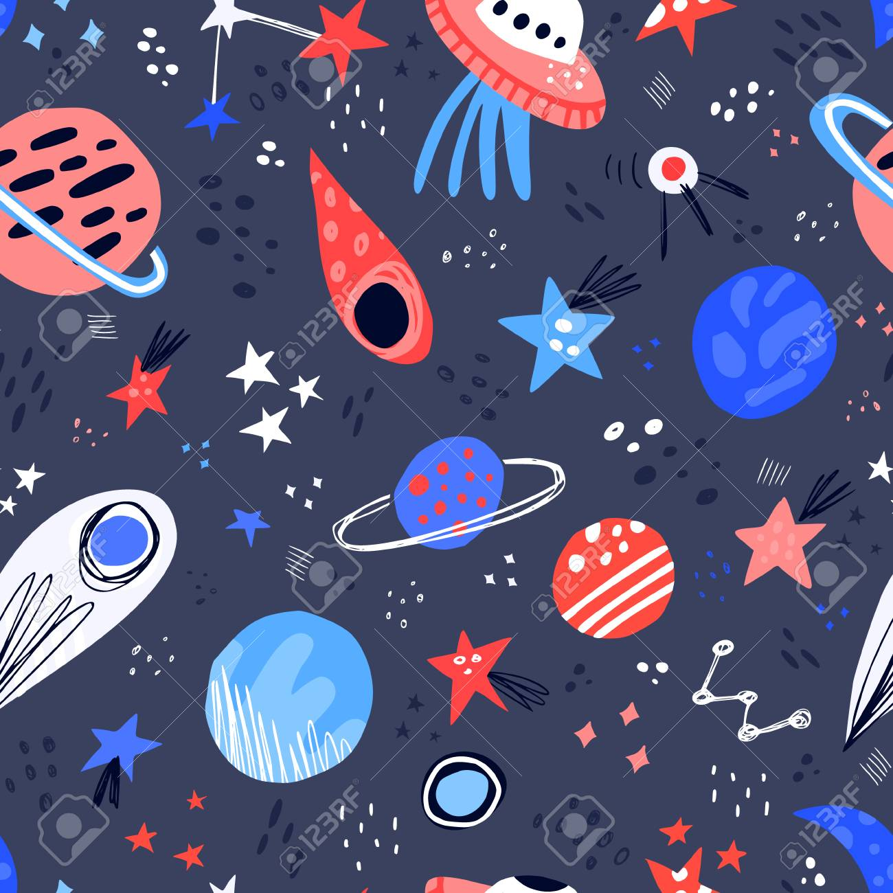 Space hand drawn color vector seamless pattern. Cartoon texture with planets, stars, ufo, comet. Space galaxy scandinavian illustration. Sketch universe. Web, wrapping paper, background doodle fill - 113772997