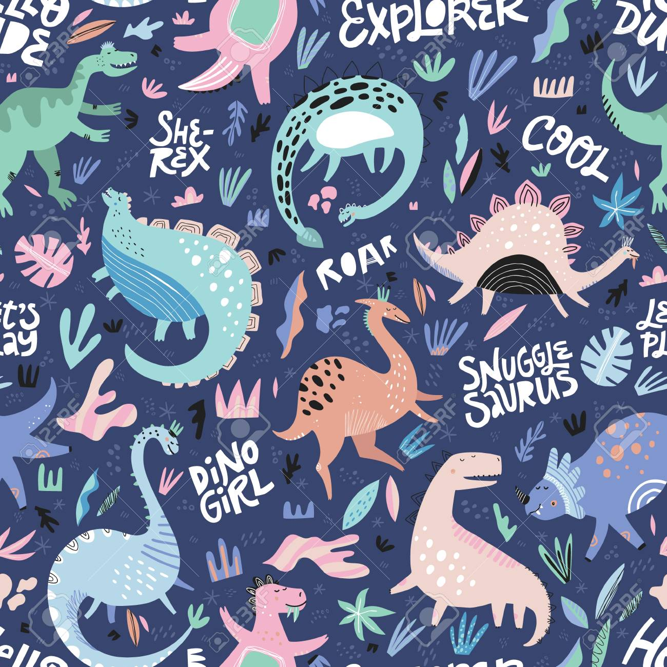 Cute dinosaurs hand drawn color vector seamless pattern. Dino characters cartoon texture with lettering. Scandinavian illustration. Sketch Jurassic reptiles. Wrapping paper, textile, background fill - 112590490