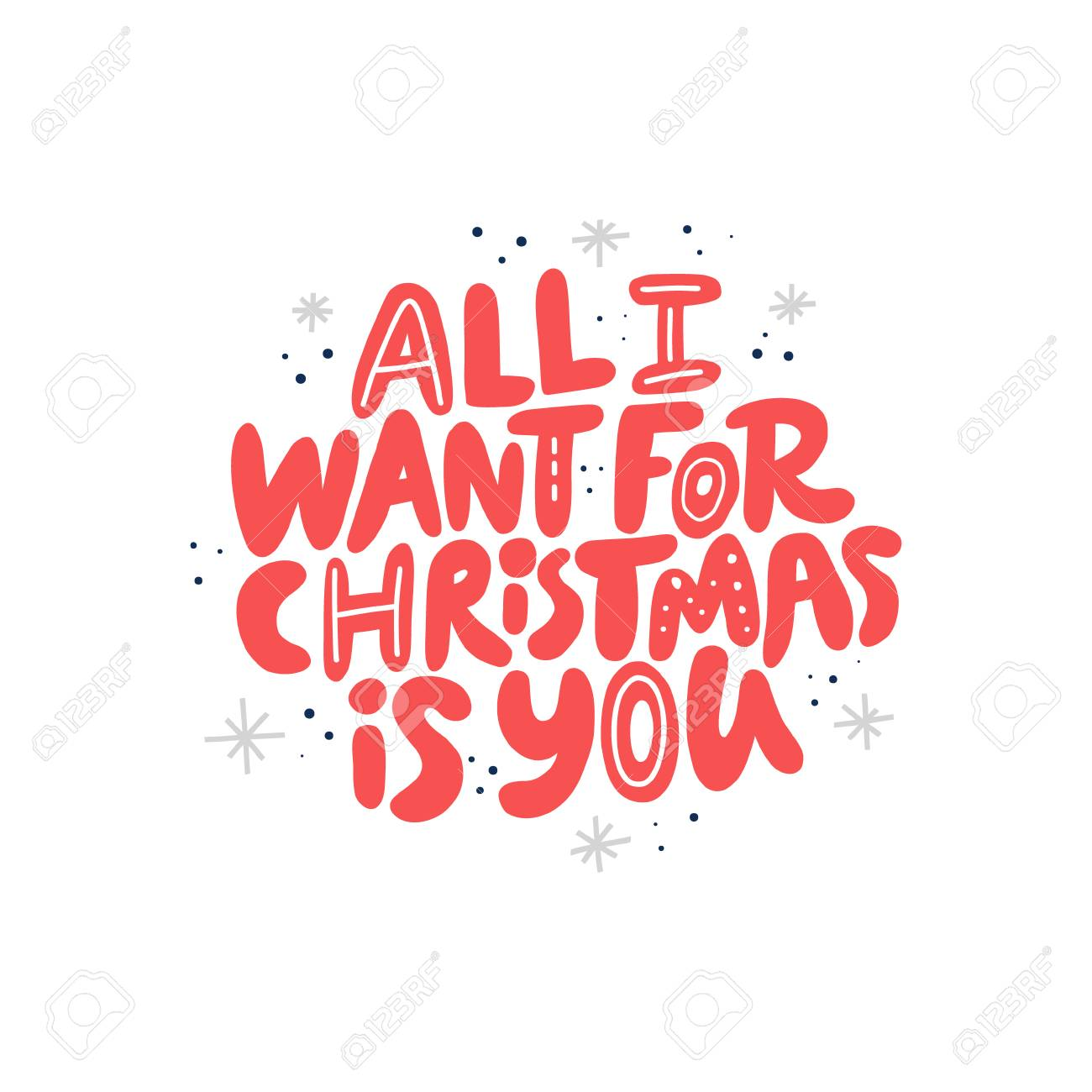 Christmas Hand Drawn Vector Red Lettering All I Want For Christmas Is You Quote Holiday Wishlist Slogan Handdrawn Wish List Clipart Xmas New Year Poster Banner Greeting Card Design Element Royalty Free