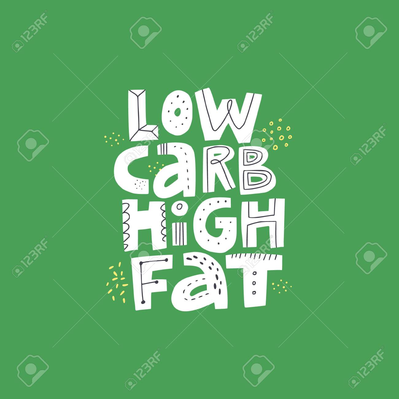 Low carb high fat white vector lettering. Keto diet flat hand drawn illustration. Ketogenic eating slogan, phrase on green background. Healthy nutrition scandinavian style poster, banner design - 124276254