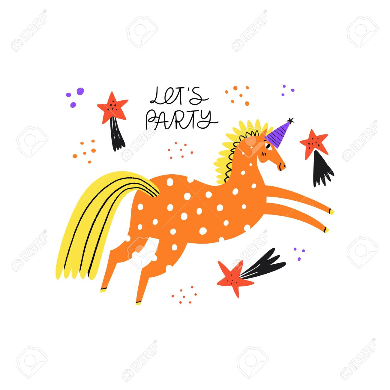 Horse In Cap For Party Funny Stallion Galloping Jumping Vaulting Royalty Free Cliparts Vectors And Stock Illustration Image 140394646