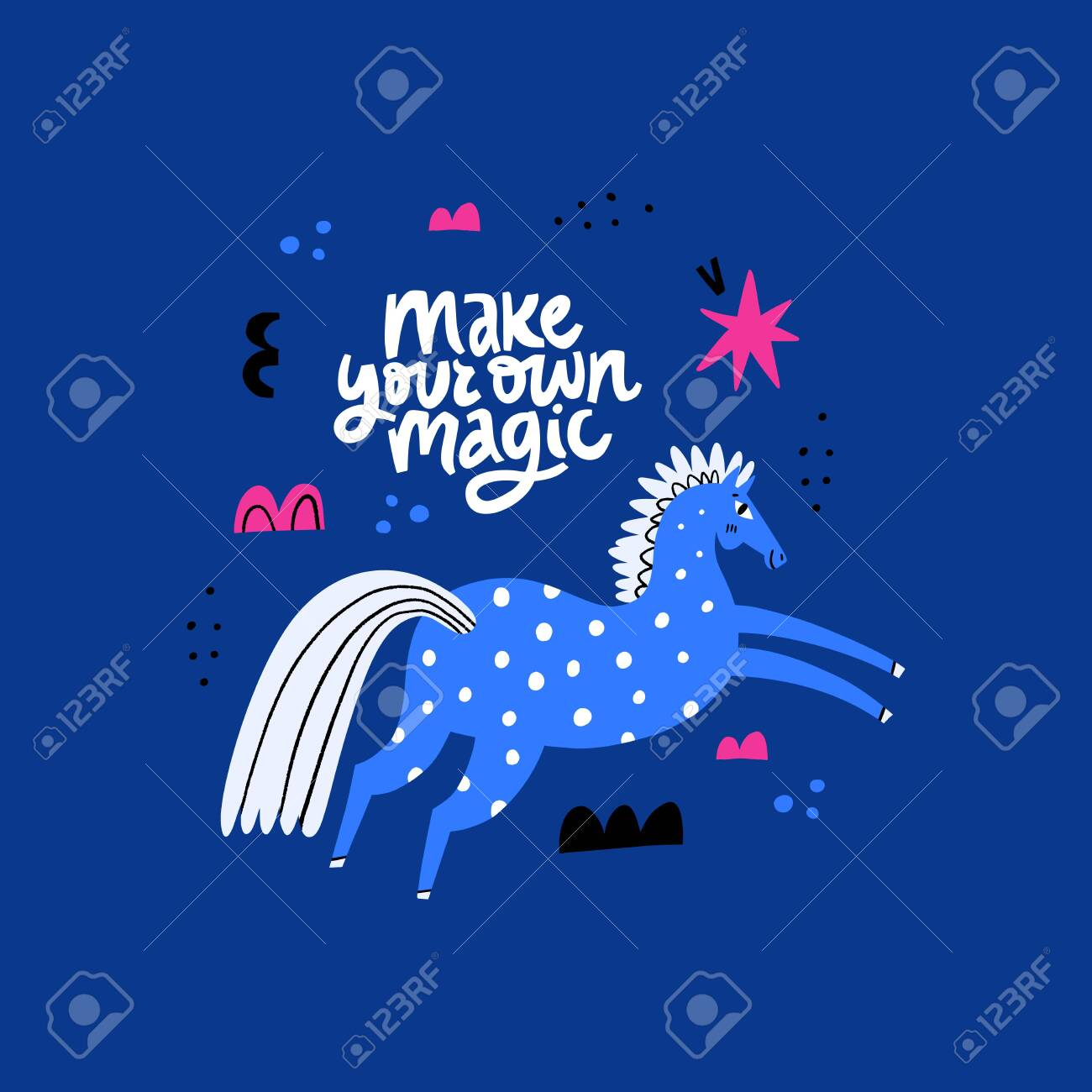 Blue Horse Scandinavian Style Drawing Stallion Galloping Jumping Royalty Free Cliparts Vectors And Stock Illustration Image 140405906