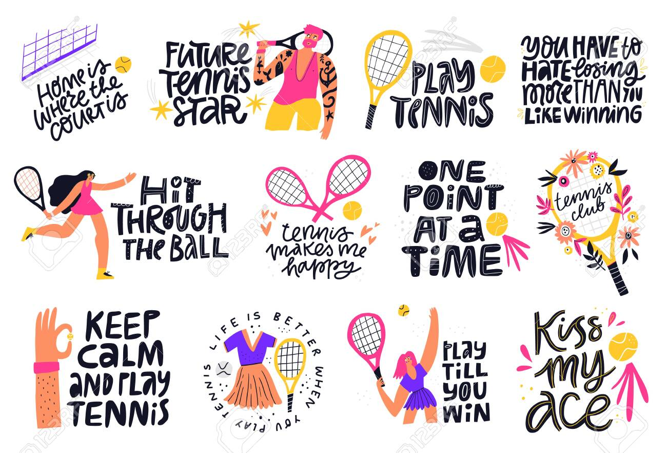Tennis Quotes Positive Credos Hand Royalty Free Cliparts Vectors And Stock Illustration Image 147646043