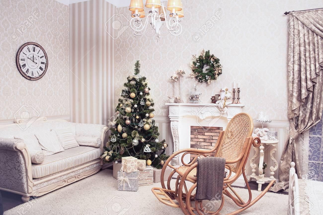 Holiday Time Christmas Tree.Cozy Living Room In Holiday Time Christmas Tree With Cones