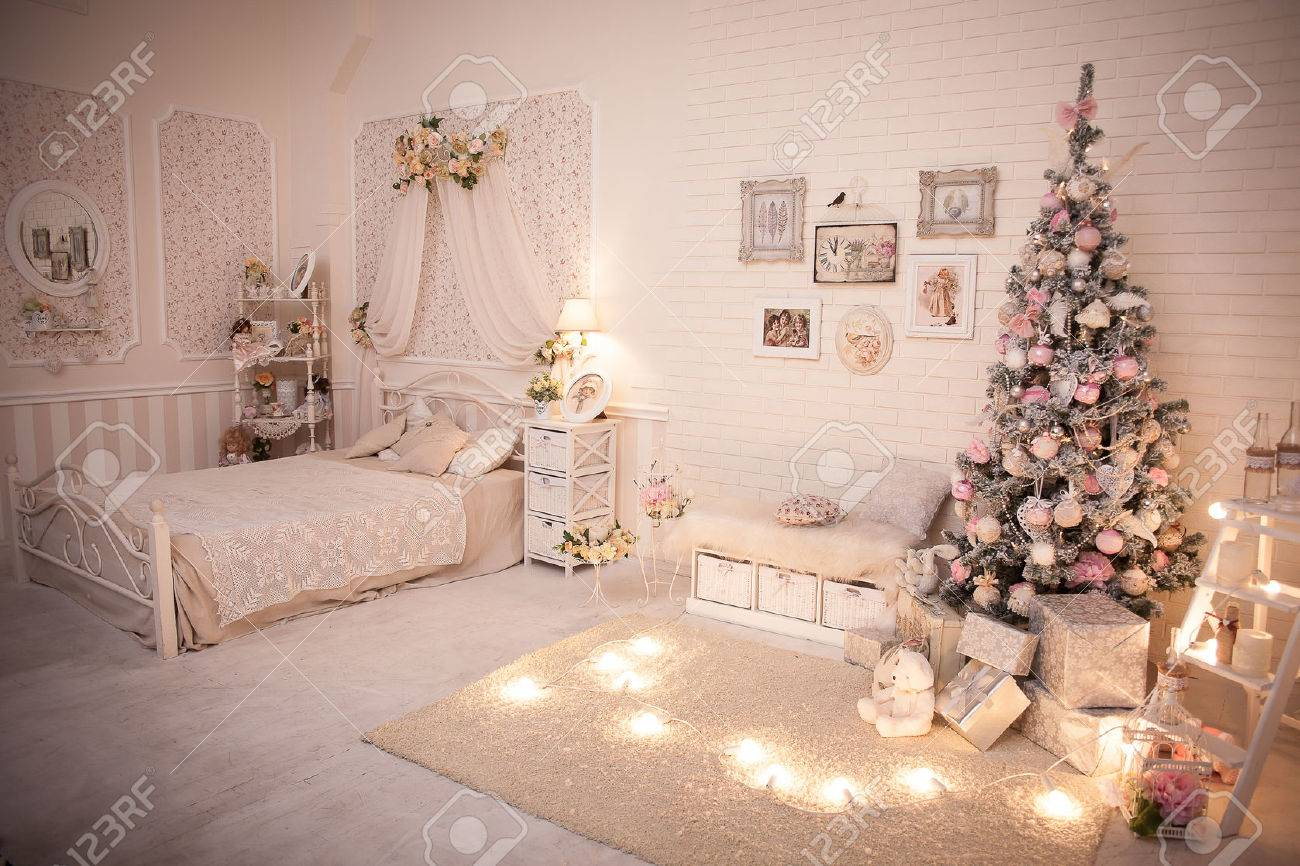 Christmas Bedroom In Shabby Chic Style. Decorated Tree In Cozy ...