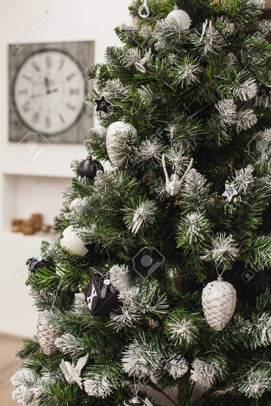 Delightful Christmas Tree With Silver Cone, Black Balls And Cubes Xmas Stock Photo    65006690