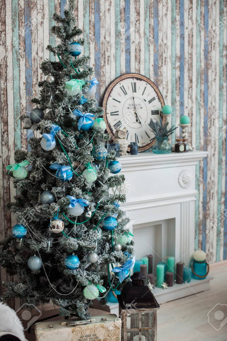 Holiday Background Mint Colors Christmas Tree Near Classic Fireplace Stock Photo Picture And Royalty Free Image Image 66034892