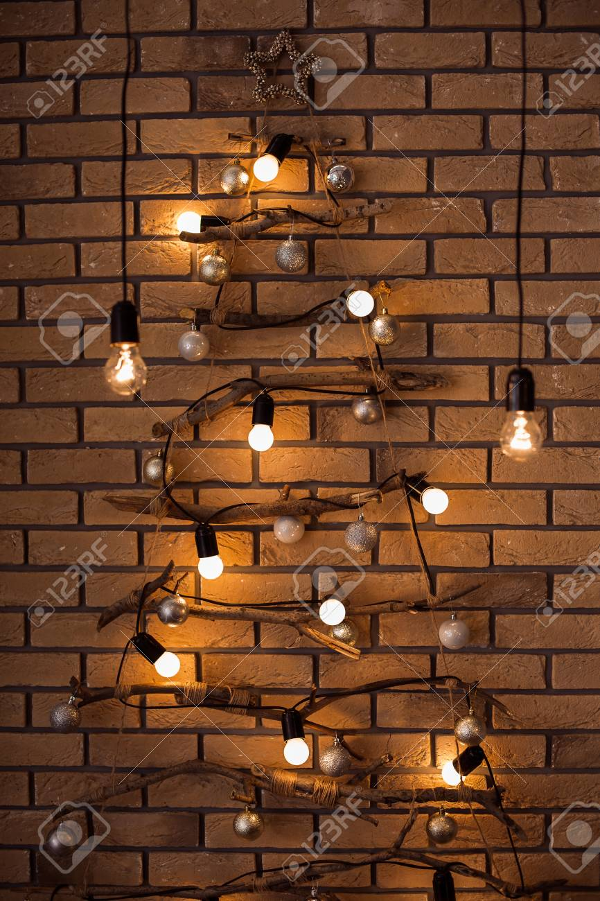 New Year Holiday Loft Interior Bulbs Lights Hanging Down At