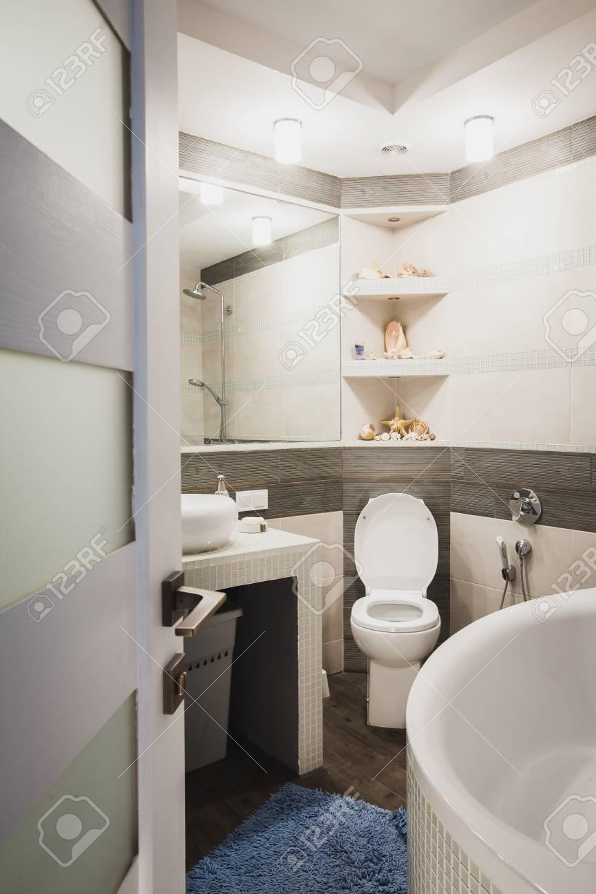 interior design of a luxury bathroom washroom with washbasin rh 123rf com