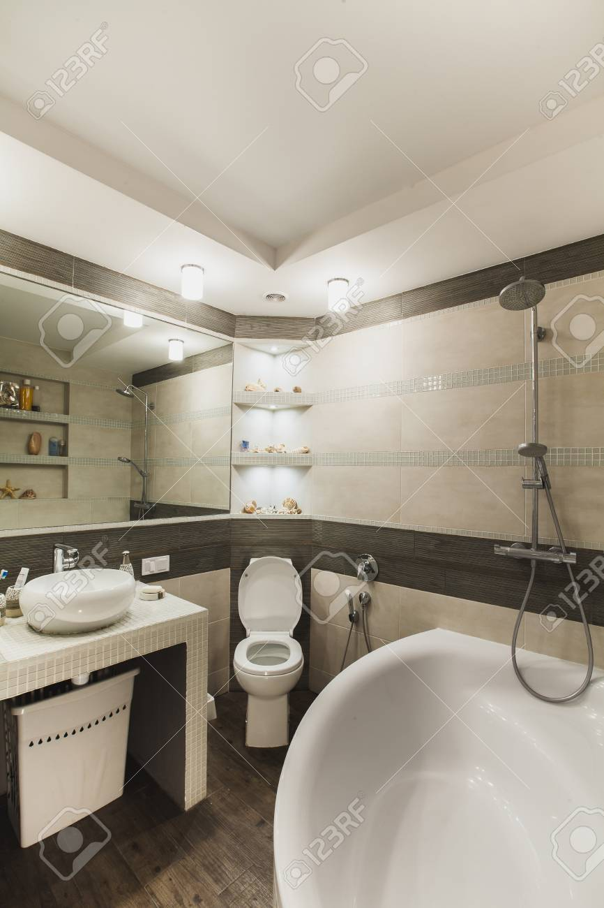 Interior Design Of A Luxury Bathroom Washroom With Washbasin Stock Photo Picture And Royalty Free Image Image 79163411