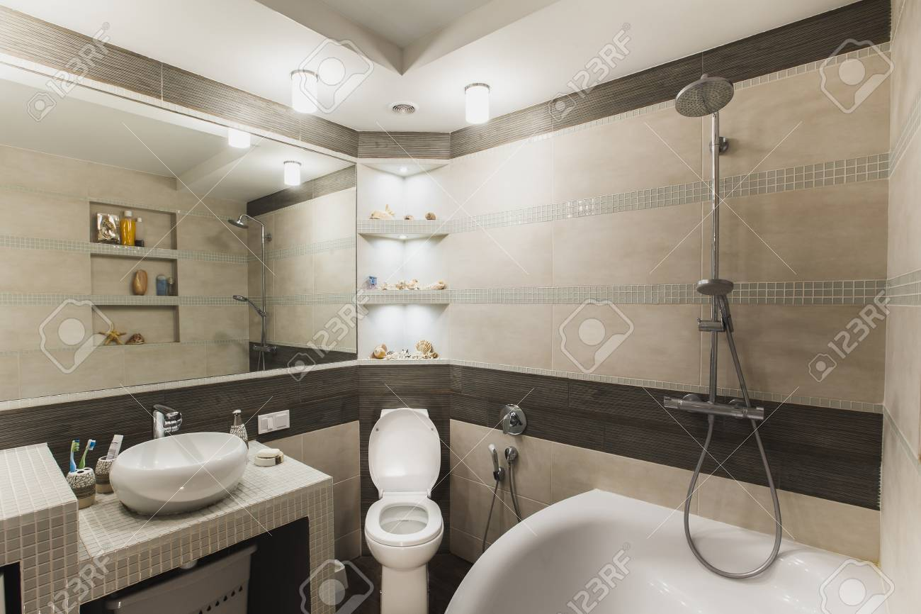 . Interior design of a luxury bathroom  washroom with washbasin