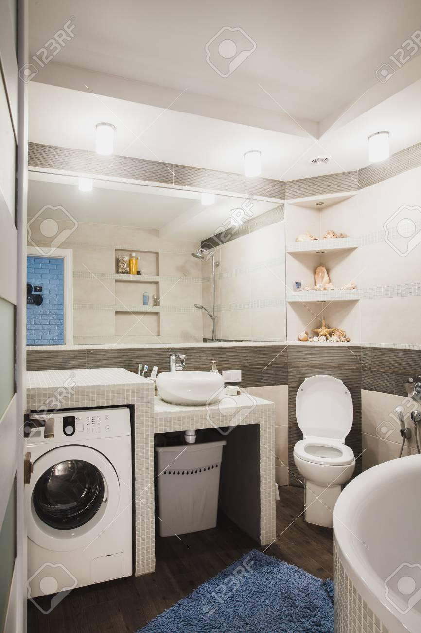 Badezimmer Mit Toilette, Hygienische Dusche, Modernes Waschbecken Und  Waschküche. Skandinavische Innenarchitektur Des Wasserschrankes