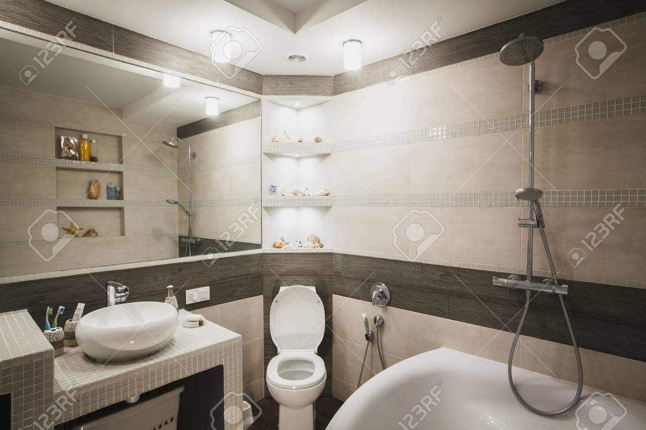 Interior Design Of A Luxury Bathroom, Washroom With Washbasin ...