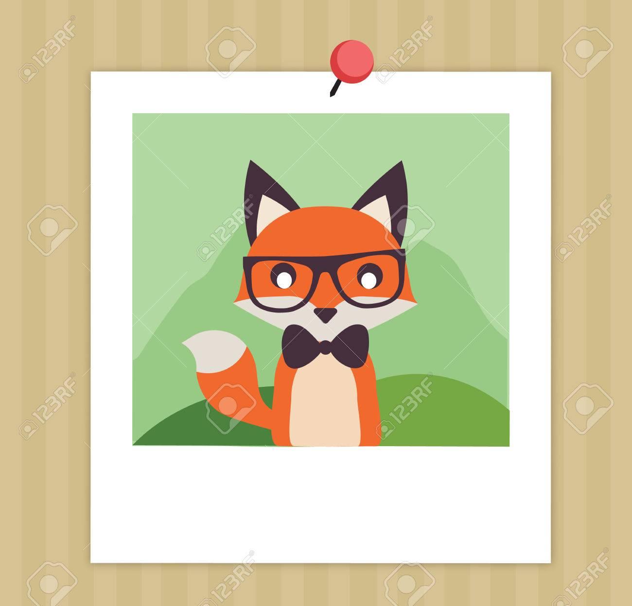 vintage cute fox in polaroid vector stock illustration flat rh 123rf com