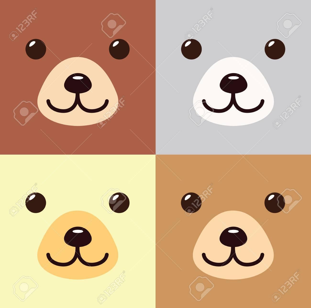 Kawaii Ours Dessin Animé Dans Différentes Couleurs Septembre Mignon Icône Animal Ours Plat Isolé Illustration Vectorielle Stock
