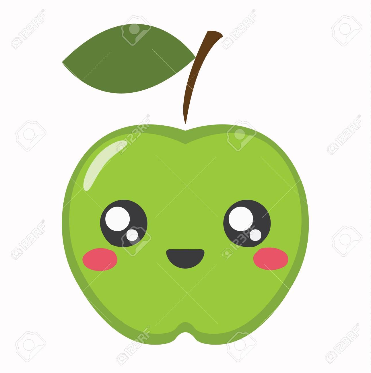 Manzana Kawaii Icono De Dibujos Animados Lindo Carácter De Apple