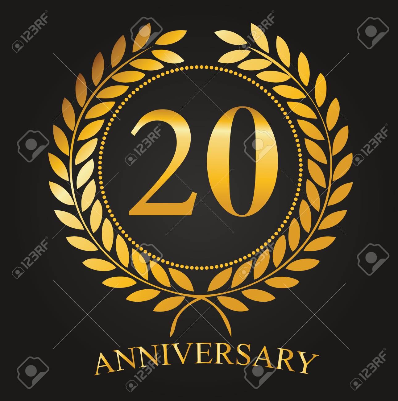20 Ans Anniversaire Golden Label 20e Anniversaire Logo Célébrité Ruban Vector Illustration