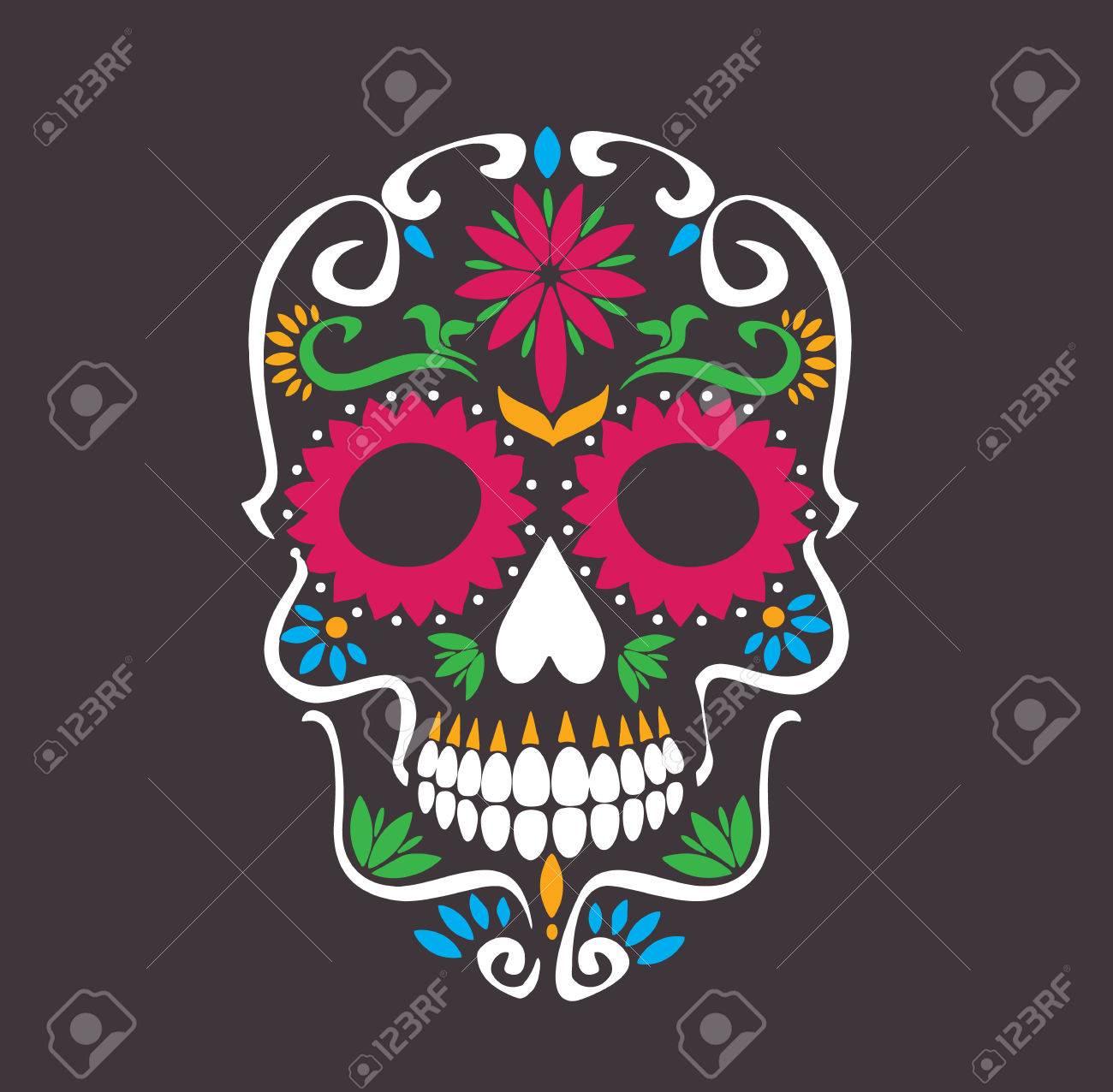 Skull Lotus Flowers Macabre Sugar Skull Tattoo Style Vector
