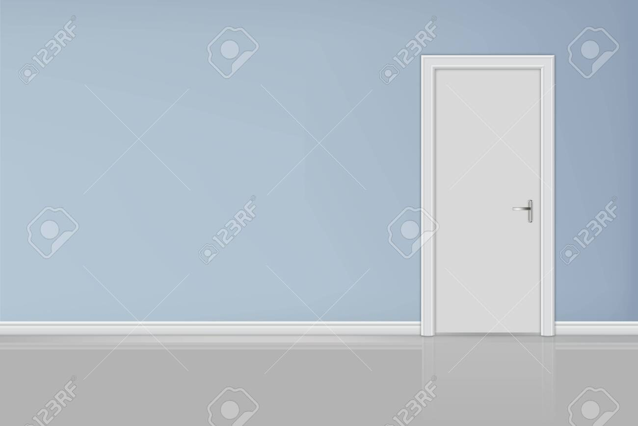 Closed white entrance door - 136958563