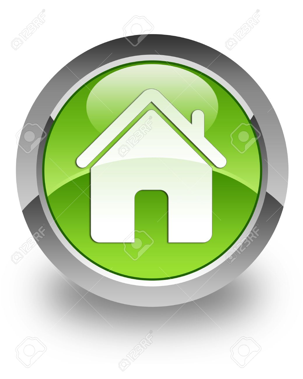 Home icon on green glossy button Stock Photo - 13249199