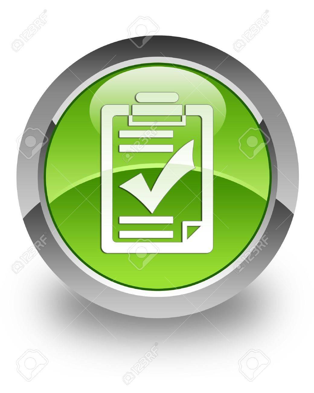 Checklist icon on green glossy button - 13261477