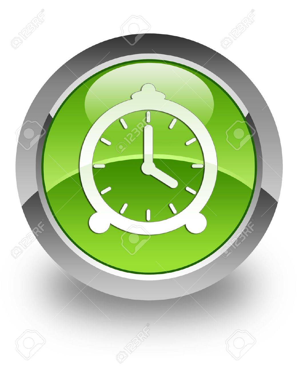 Clock icon on green glossy button Stock Photo - 13261487