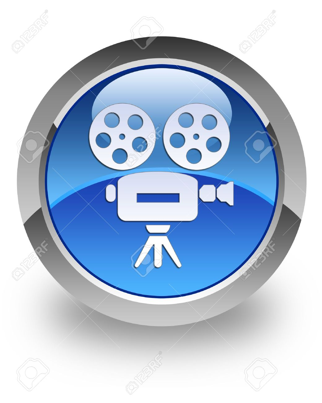 Video camera icon on glossy blue round button Stock Photo - 13956107