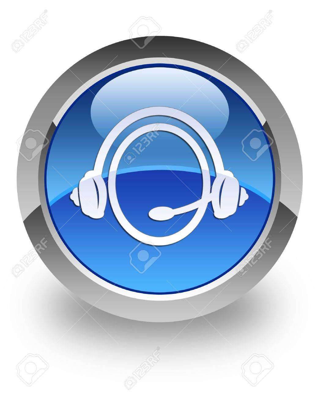 Customer Service icon on glossy blue round button Stock Photo - 14516134