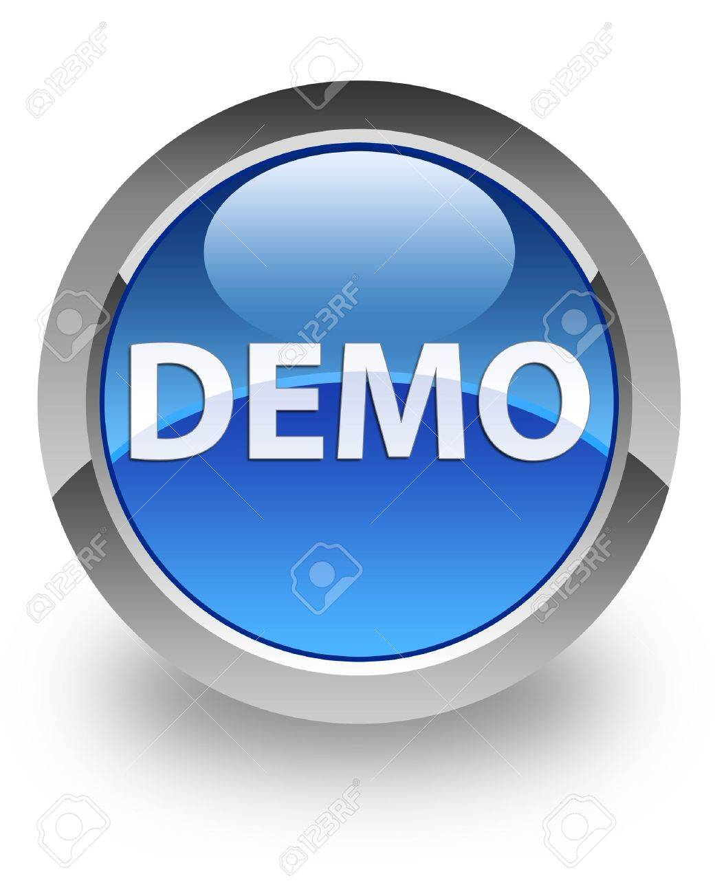 Demo icon on glossy blue round button Stock Photo - 15446212