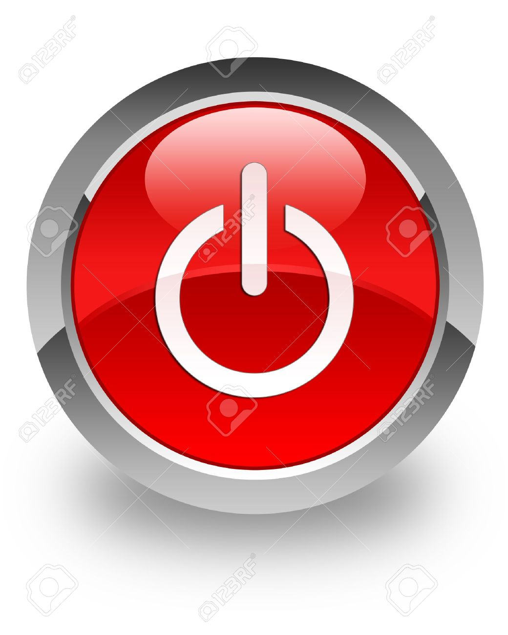Power Off Icon On Glossy Red Round Button Stock Photo Picture And